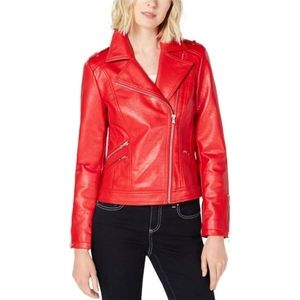 I-N-C Womens Faux Leather Motorcycle Jacket